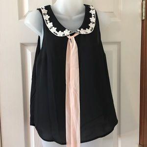 NWT Lauren Conrad lace collar, sleeveless blouse S